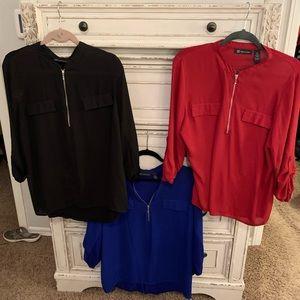 INC Black, Blue, & Red 3 Quarter Sleeve Zipper Top